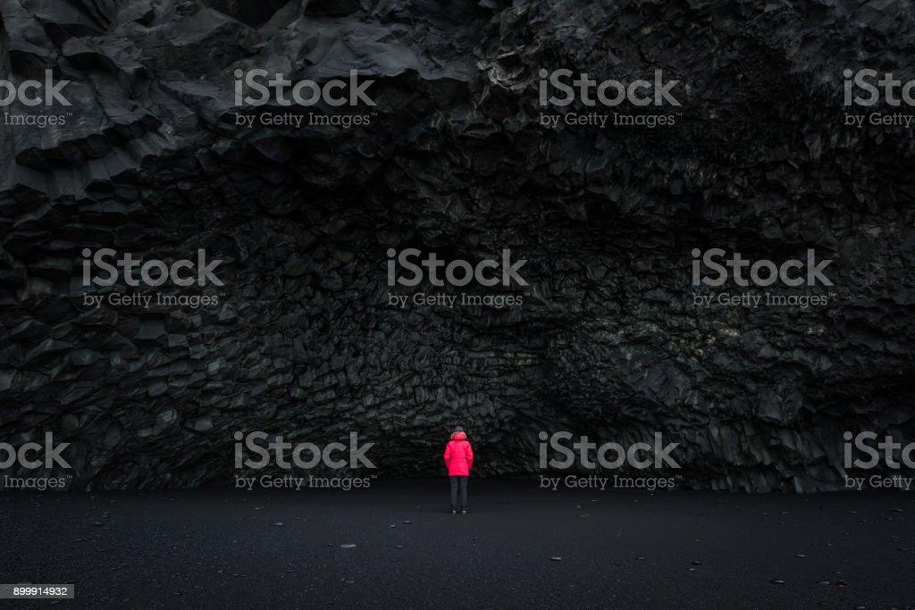 Halsanefshellir Cave on a Black Sand Beach Iceland stock photo