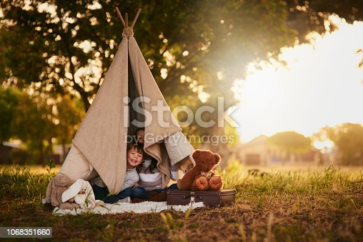 Portrait of two cute little siblings playing together in a teepee outside