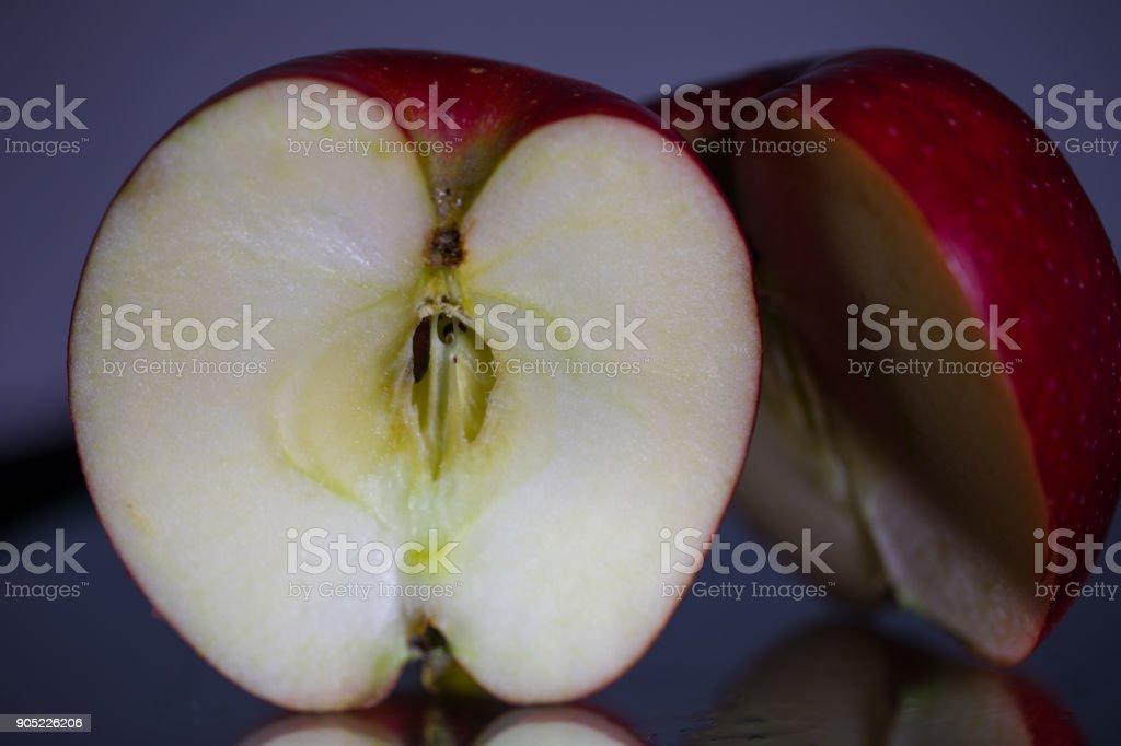 Halved Apple stock photo
