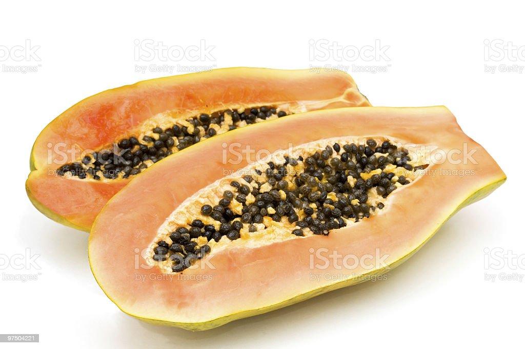 Halves papaya. royalty-free stock photo