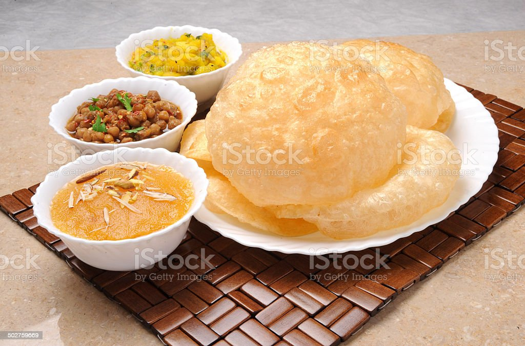 Halwa Puri Breakfast stock photo