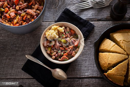 Bowl of Ham and Bean Soup with Cast Iron Cornbread