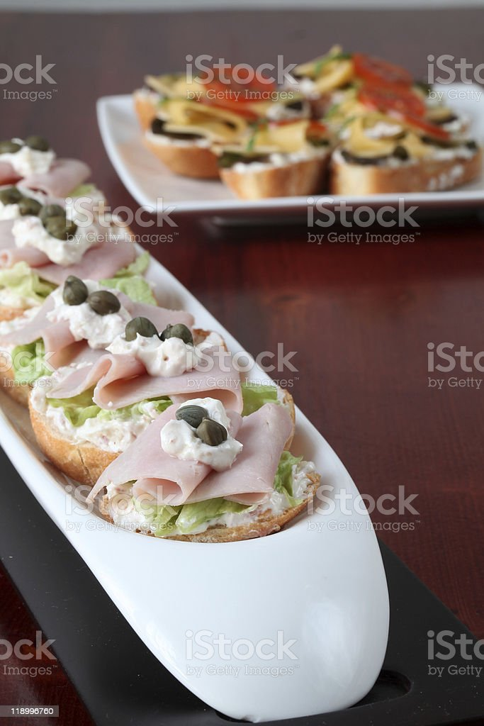 Ham and cheese appetizers royalty-free stock photo