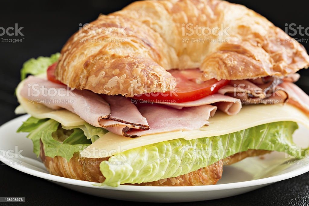 Ham And Cheese Croissant Sandwich royalty-free stock photo