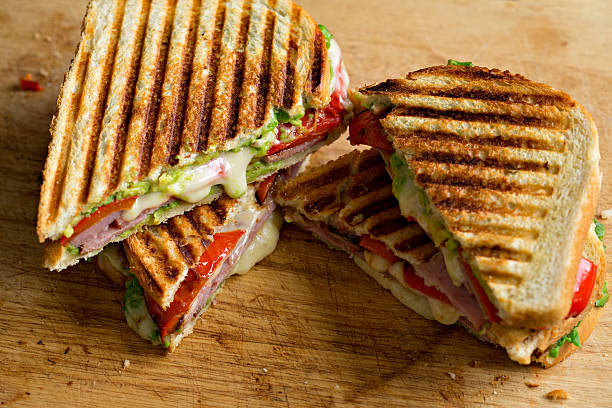 Ham And Cheese Panini stock photo