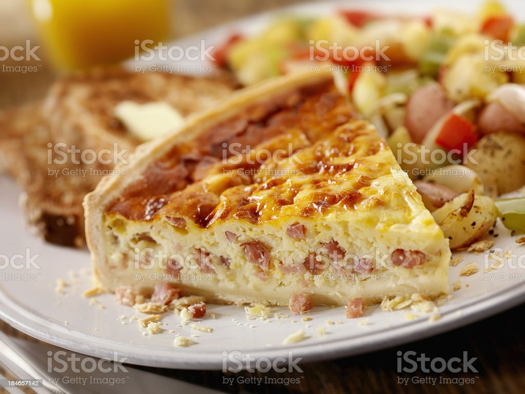 Ham and Cheese Quiche with Orange Juice royalty-free stock photo