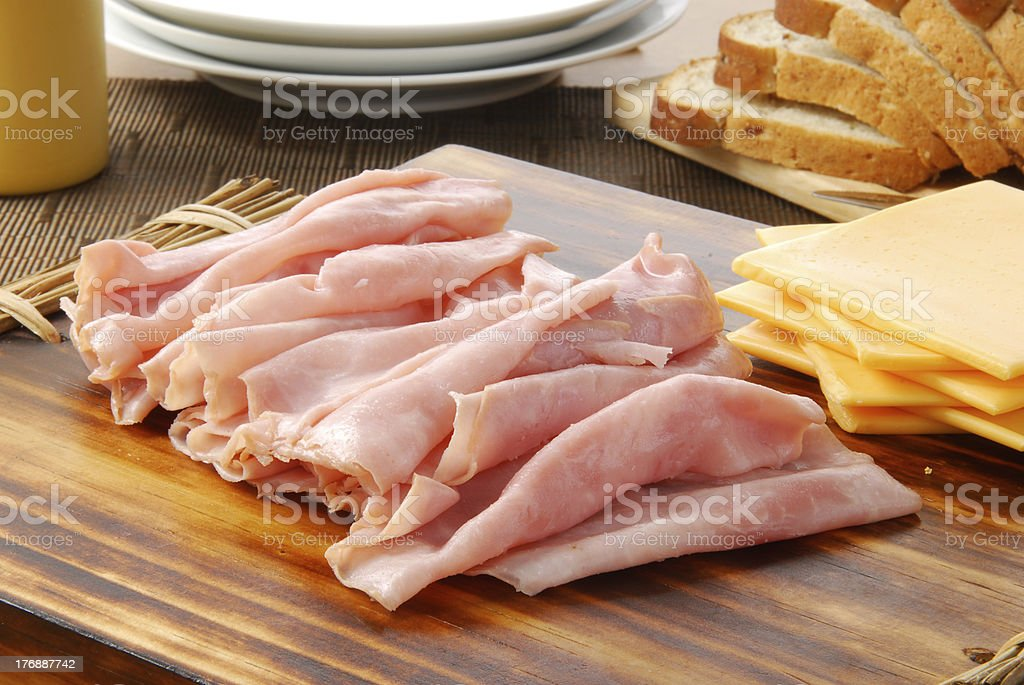Ham and cheese sandwich fixings stock photo