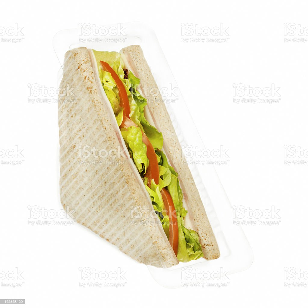 Ham and cheese sandwich in plastic package stock photo