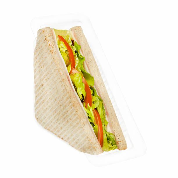햄 및 치즈 샌드위치 인 플라스틱 패키지 스톡 사진
