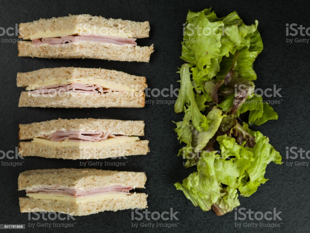 Ham and Cheese Sandwich In Wholemeal Brown Bread stock photo