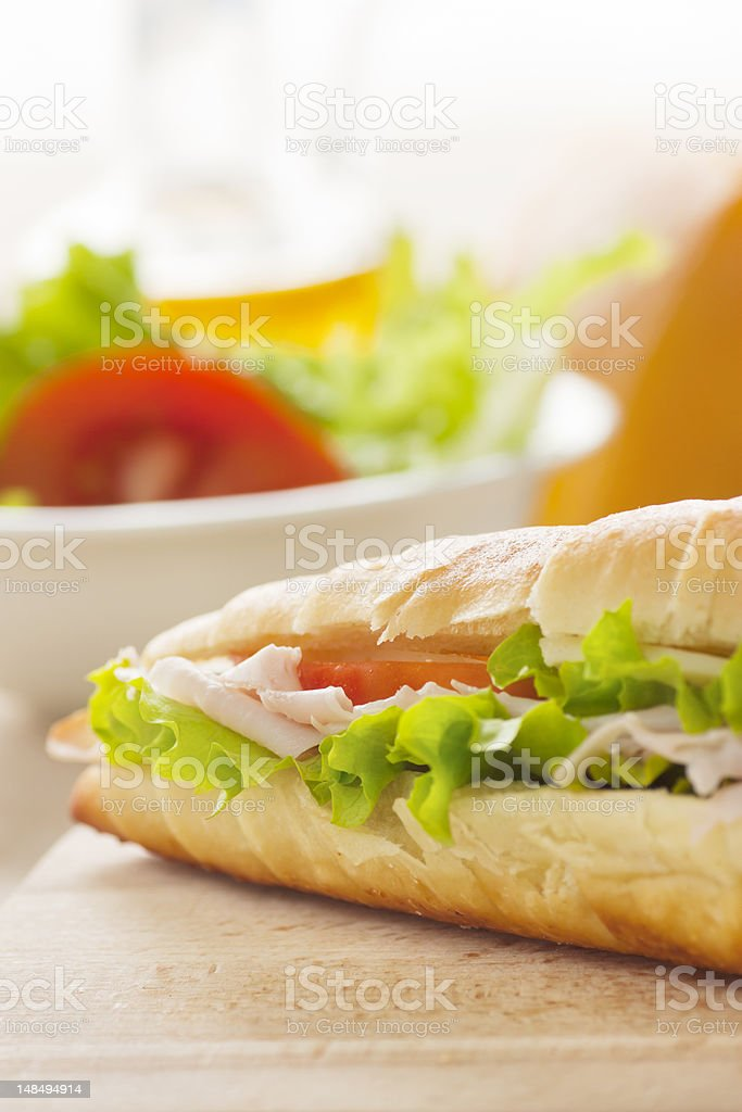 Ham and cheese sandwich royalty-free stock photo