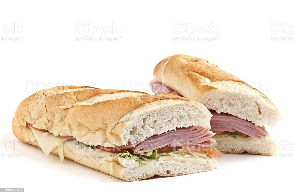 Ham and cheese sandwich stock photo