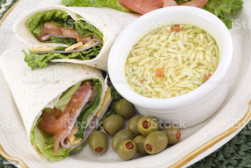 Ham and Cheese Wrap with Soup royalty free stockfoto
