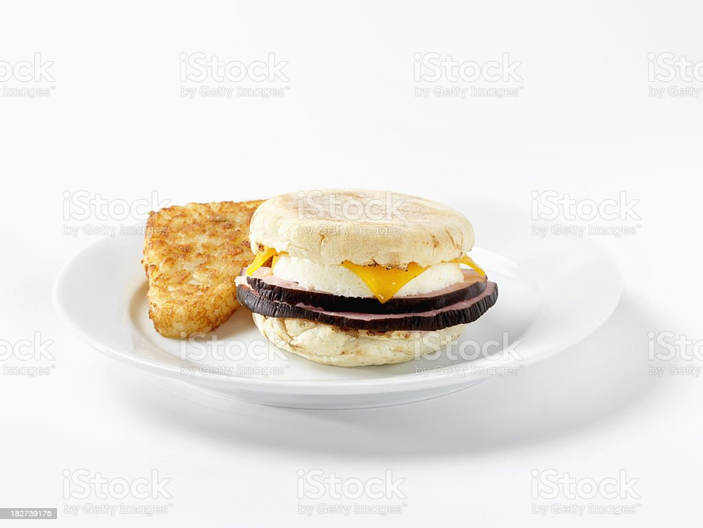 Ham and Egg, English Muffin Breakfast Sandwich royalty-free stock photo