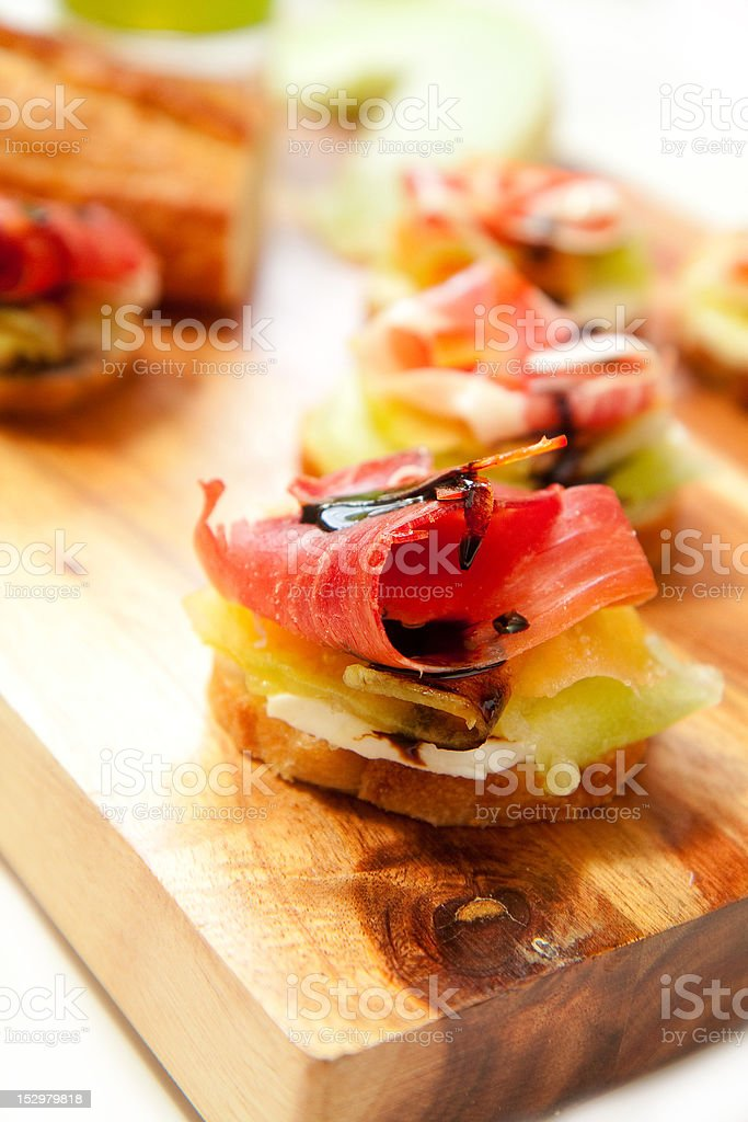Ham and Melon Appetizers royalty-free stock photo