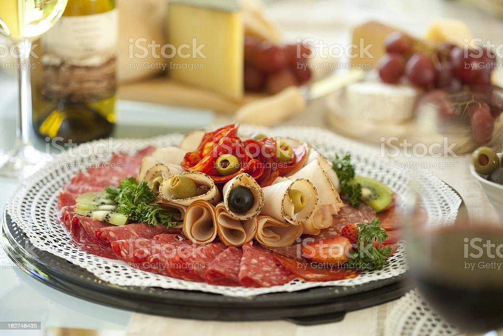 Ham and salami stock photo