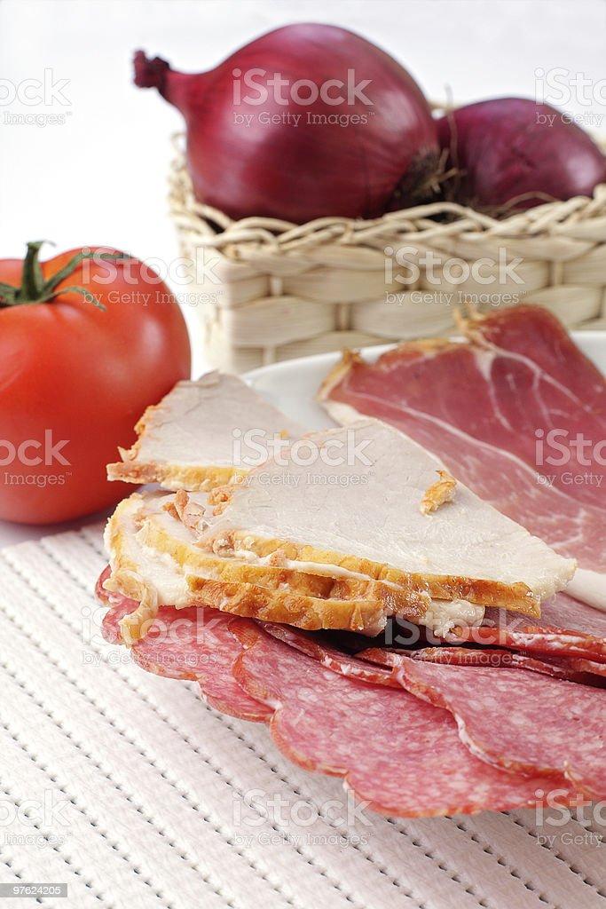 ham and salami royalty-free stock photo
