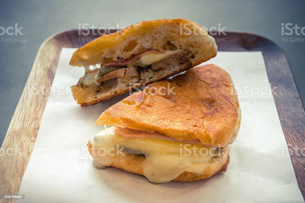 ham and swiss cheese sandwich stock photo