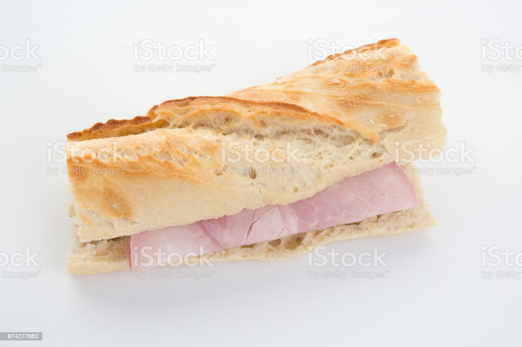 Ham baguette isolated on a white background stock photo