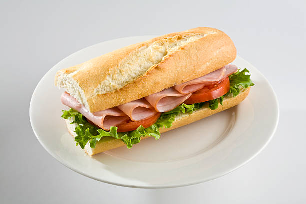 Ham baguette stock photo