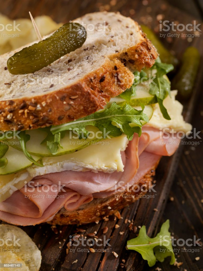 Ham, Brie, Pear and Arugula Sandwich stock photo