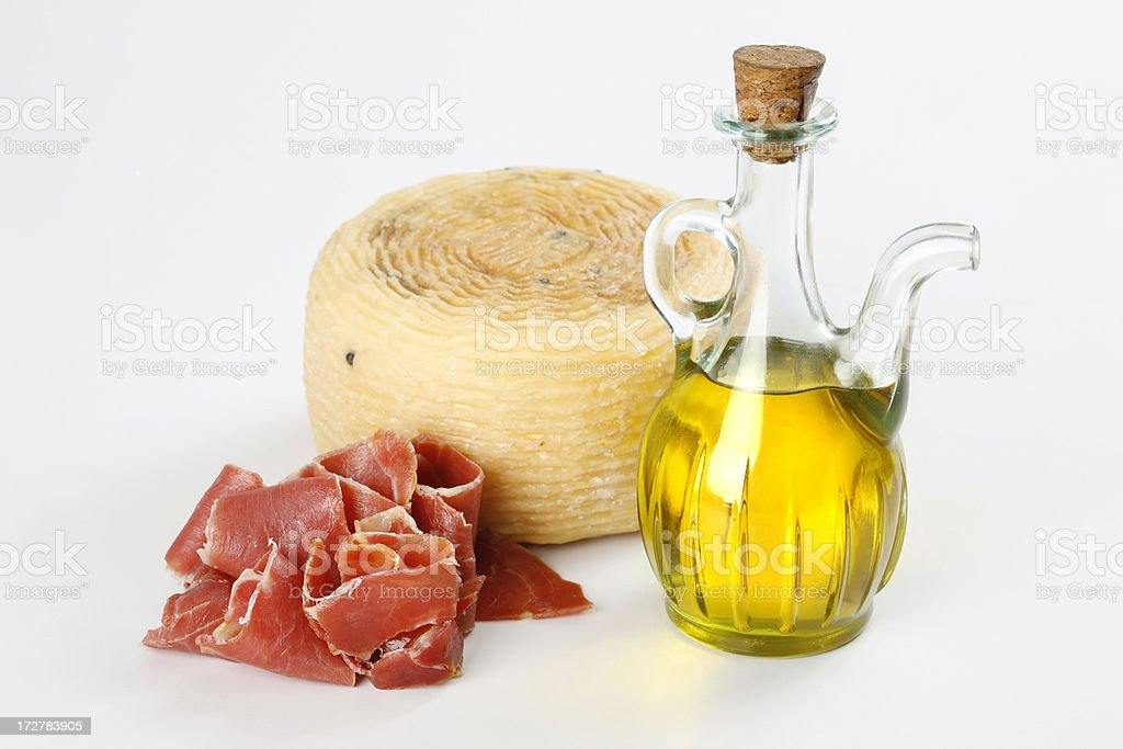 Ham, cheese and oil royalty-free stock photo