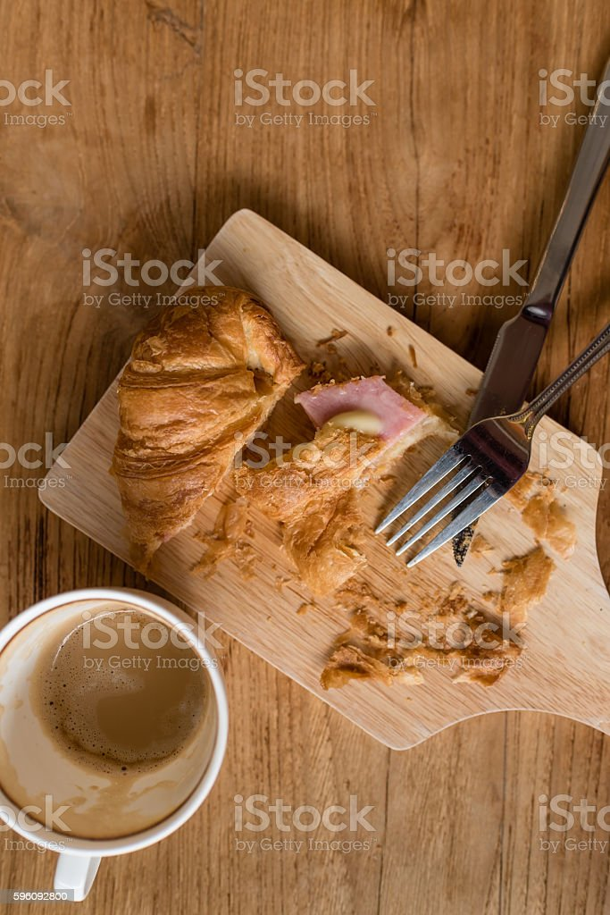 ham cheese croissant breakfast on wooden table royalty-free stock photo