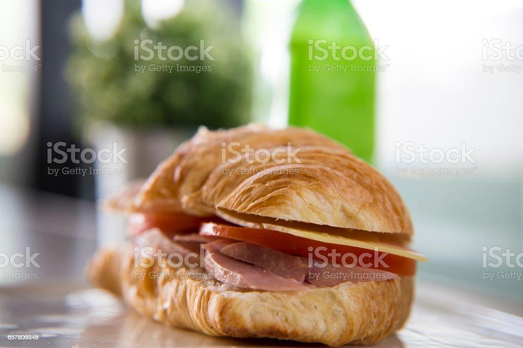 Ham, Cheese & Tomato Crossiant stock photo