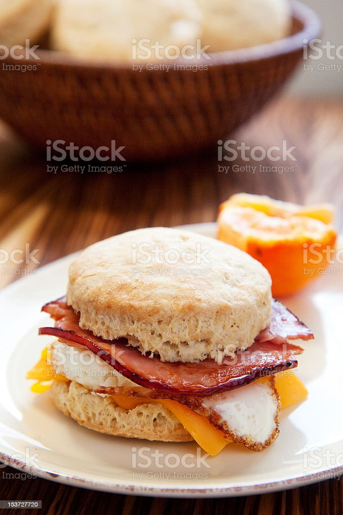 Ham, egg, and cheese biscuit royalty-free stock photo