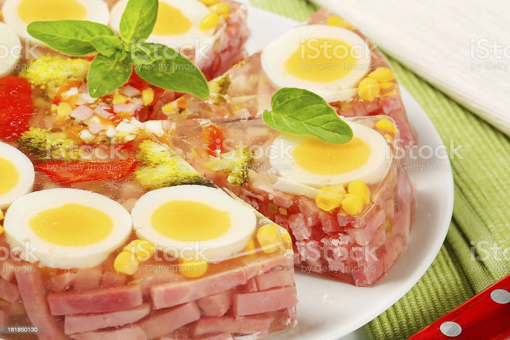 Ham & Egg Aspic Pie stock photo