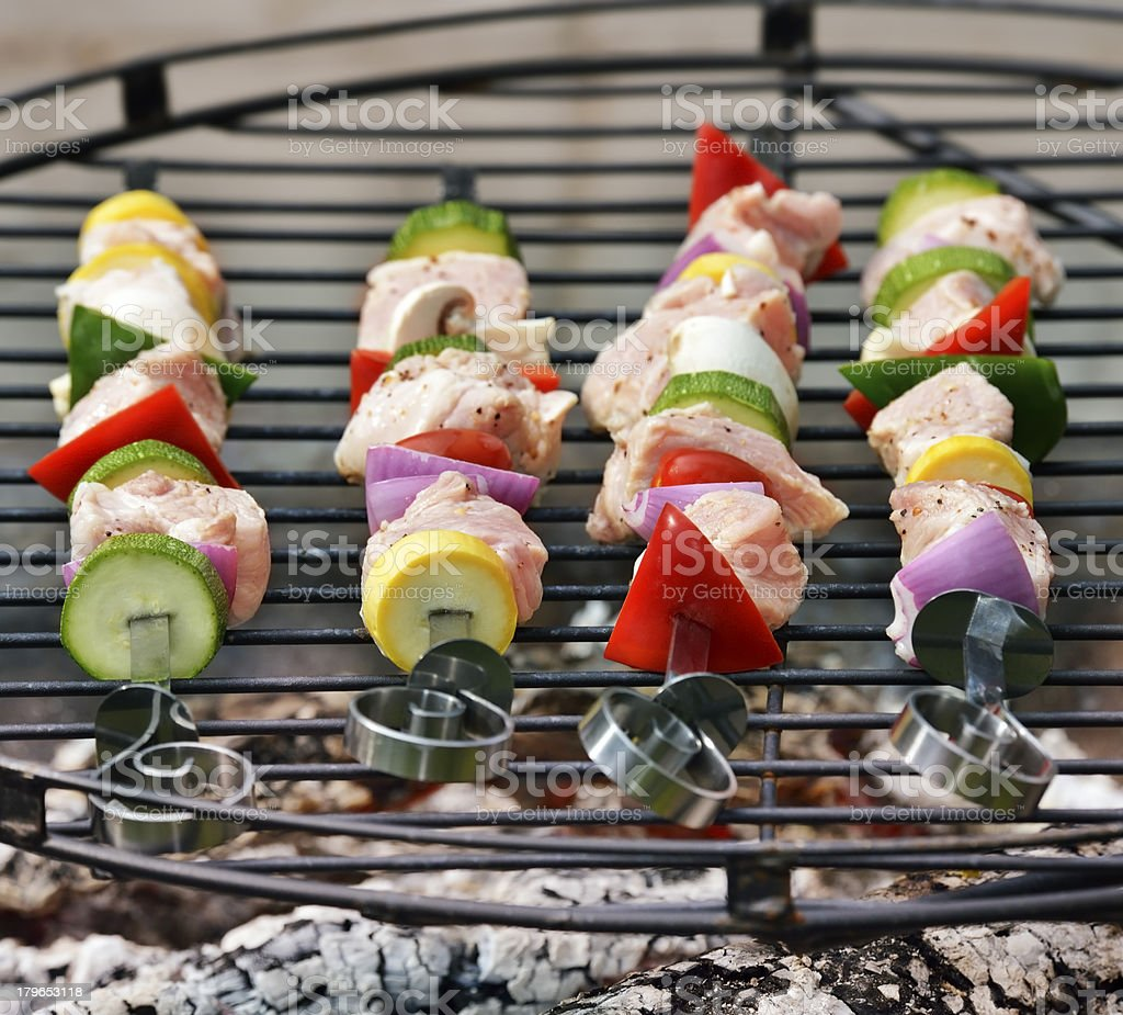Ham Kabobs On The Grill royalty-free stock photo