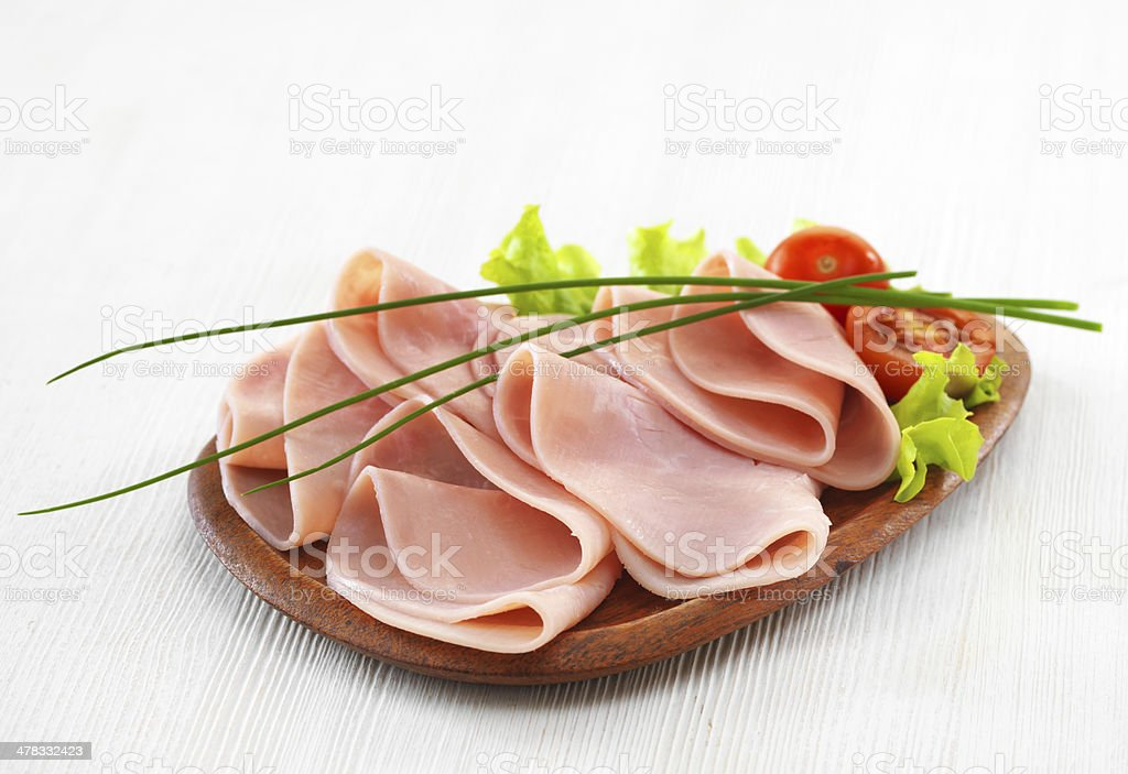 ham on plate royalty-free stock photo
