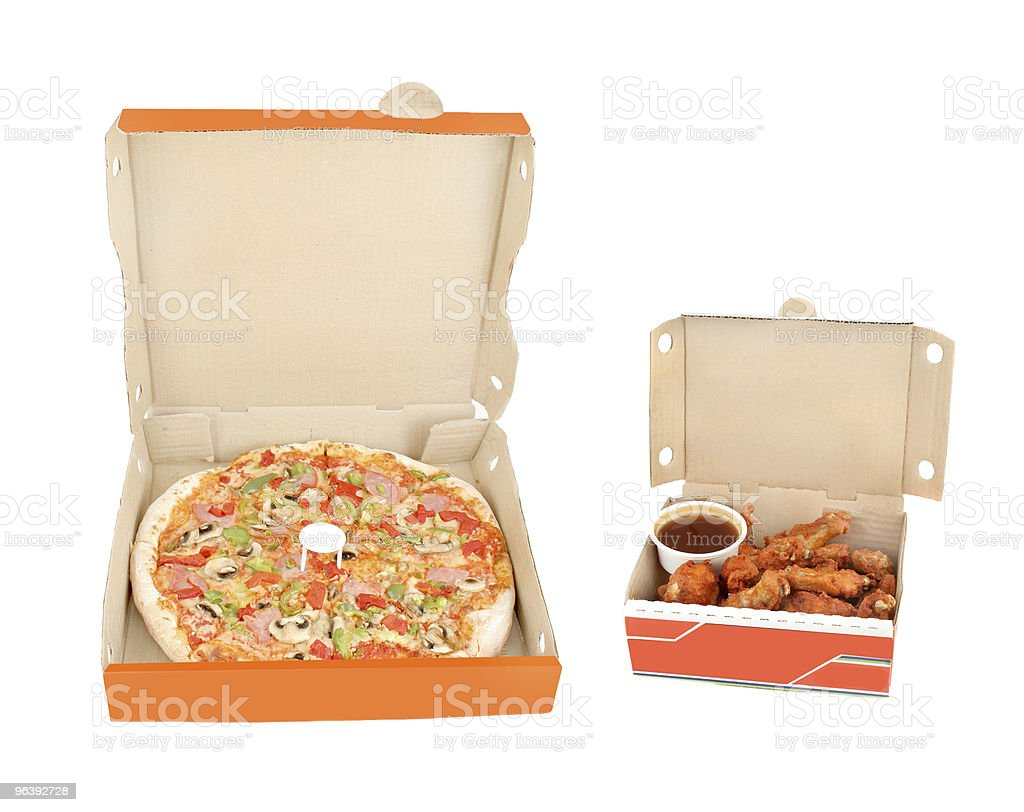 ham,  pepper pizza with chicken wings and dip - Royalty-free Baked Stock Photo