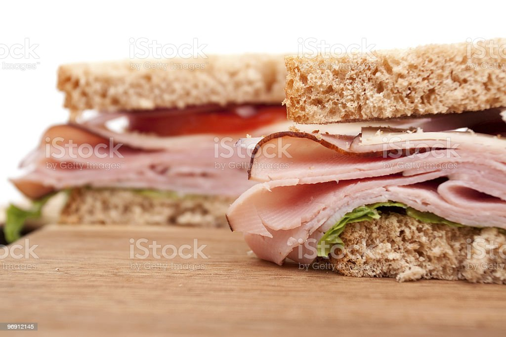 Ham sandwich cut in half royalty-free stock photo