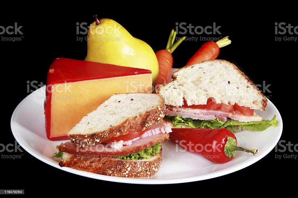 Ham sandwich on multigrain bread royalty-free stock photo