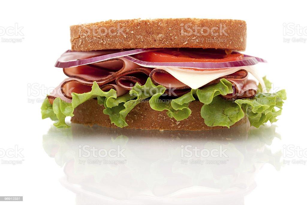 Ham sandwich on whole wheat bread royalty-free stock photo
