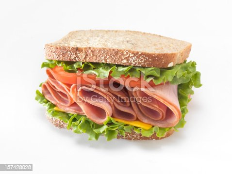 Ham Sandwich with Lettuce, Tomato and Cheddar Cheese - Photographed on a Hasselblad H3D11-39 megapixel Camera System