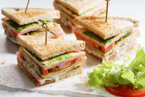 ham sandwich - club sandwich stock photos and pictures