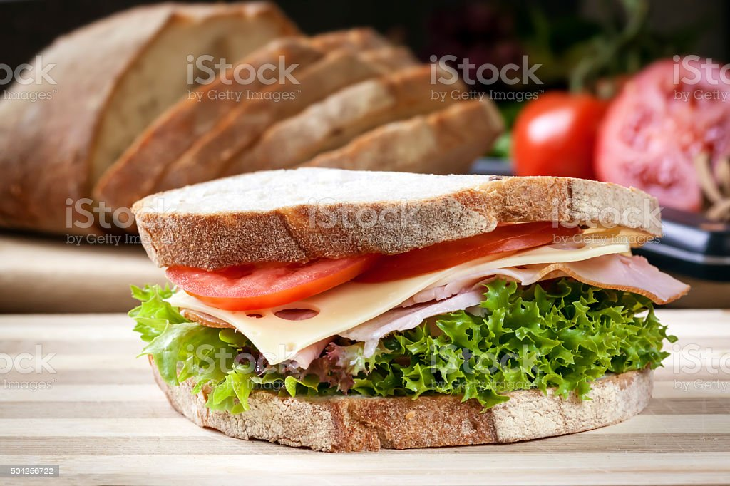 Ham Sandwich with Salad and Cheese stock photo