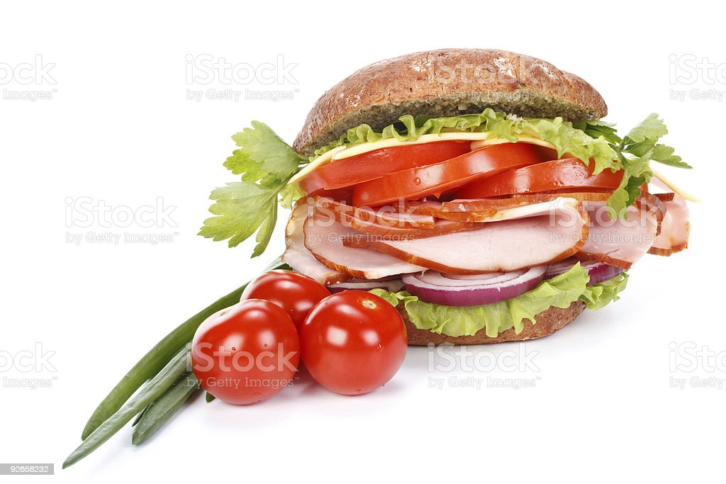 Ham sandwich with vegetables royalty-free stock photo