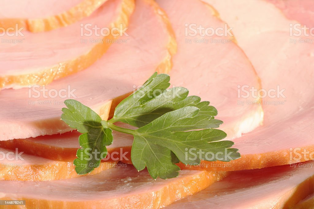 Ham slices and parsley leaf royalty-free stock photo