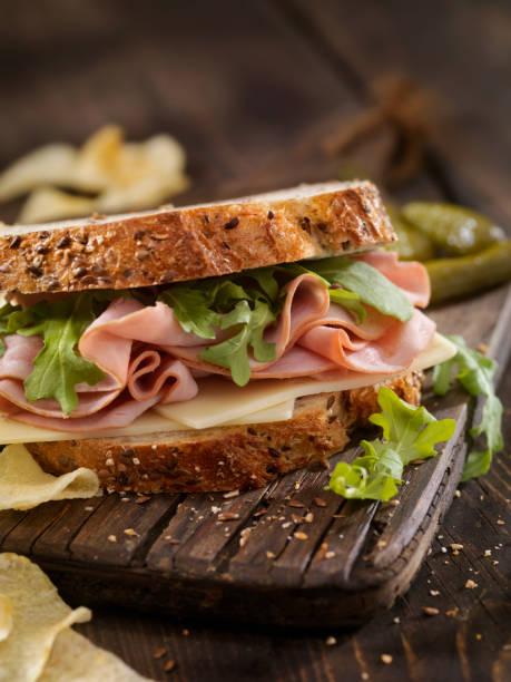 Ham, Swiss and Arugula Sandwich stock photo