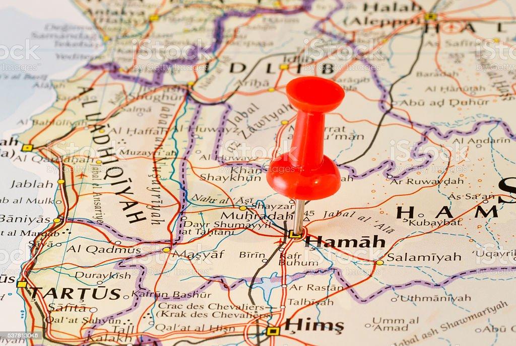 Hama (Hamah) Marked on Map with Red Pushpin stock photo