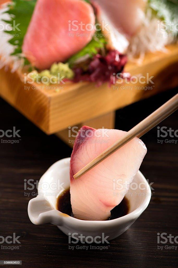 Hamachi Sashimi stock photo