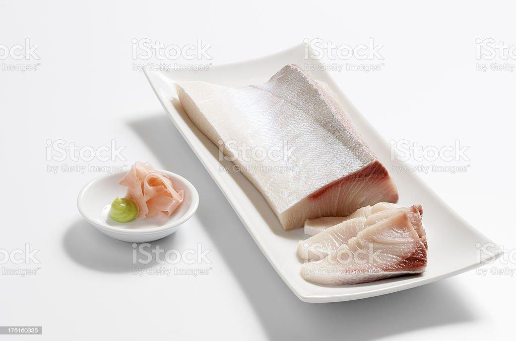 Hamachi Yellowtail Belly Sashimi Sushi on White stock photo