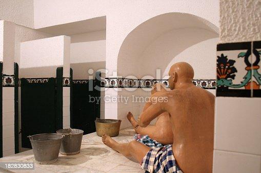 Turkish bath with wax sculptures
