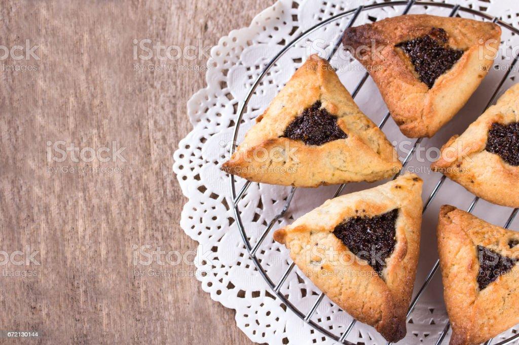 Hamantaschen cookies for Purim stock photo