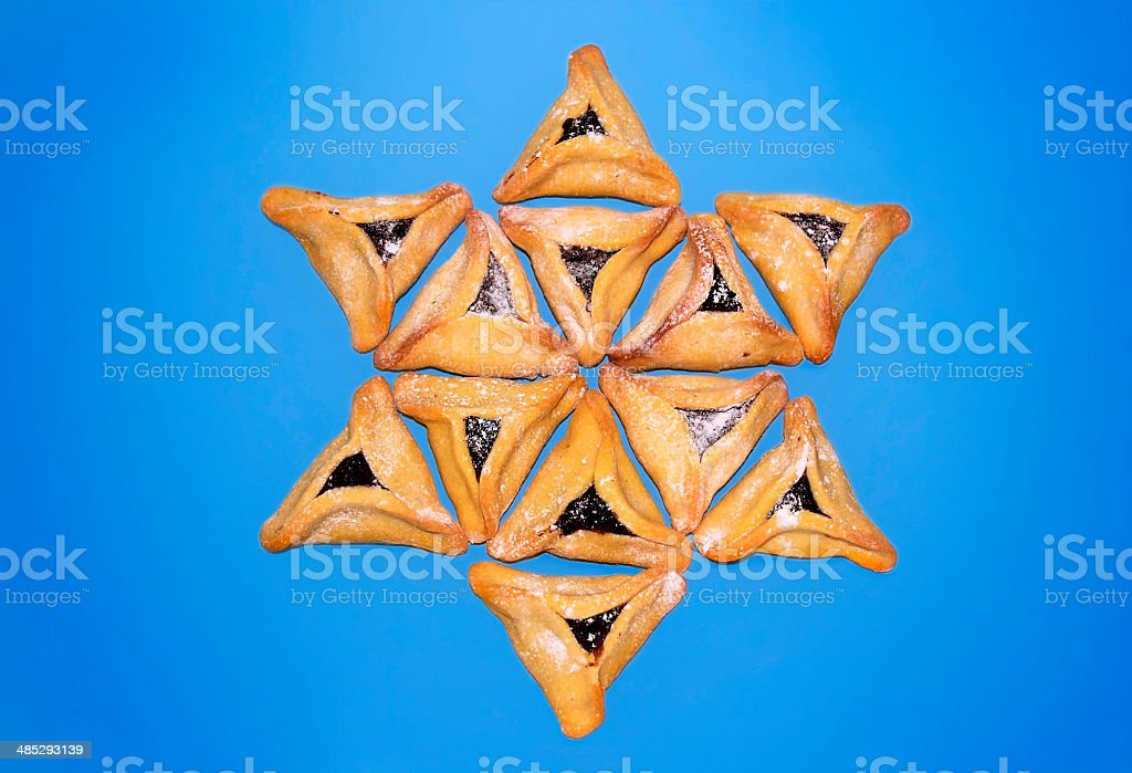 hamantaschen cookies, jewish holiday of Purim stock photo