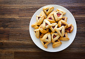 Hamantaschen for Purim on a plate