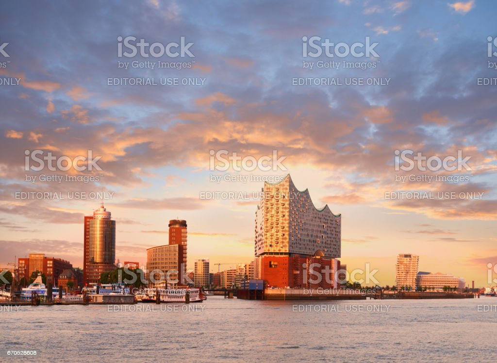 Hambirg, view on the Elbe river towards Elbphilharmonie at sunset stock photo